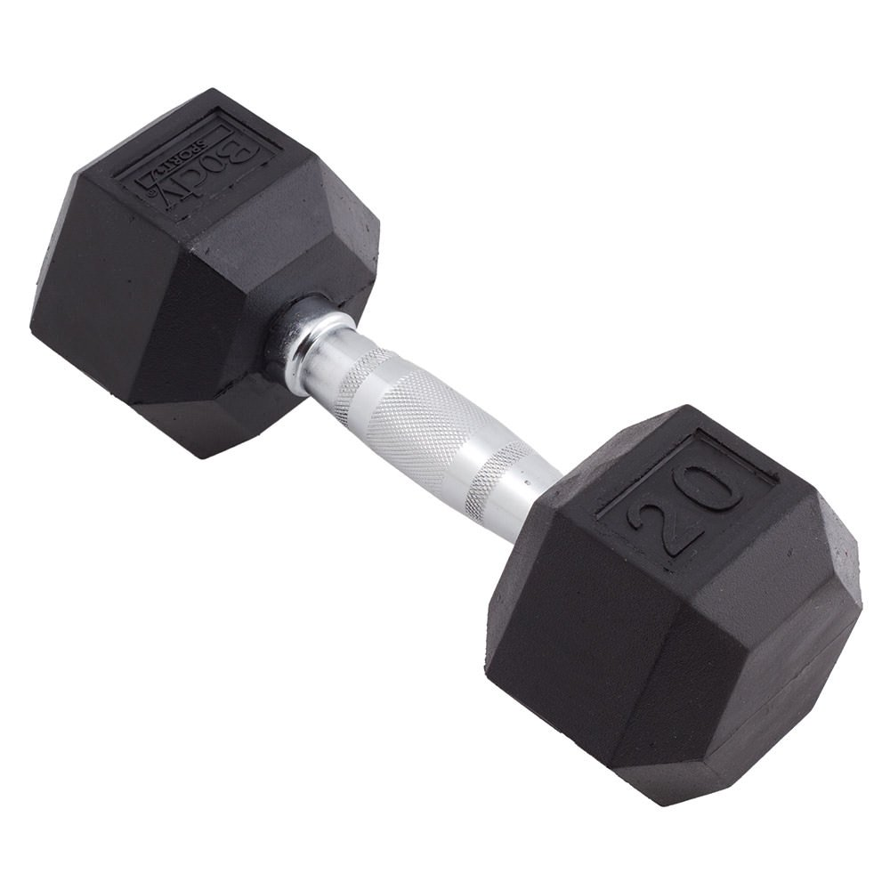 Body Sport 20lb Rubber Encased Hex Dumbbell - Sold Individually