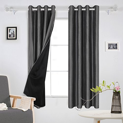 Deconovo Lined Curtains Dupioni Faux Silk Lined Thermal Insulated Grommet Blackout Curtains for Nursery 52W x 63L Inch Dark Grey 2 Panels (Dupioni Curtains)