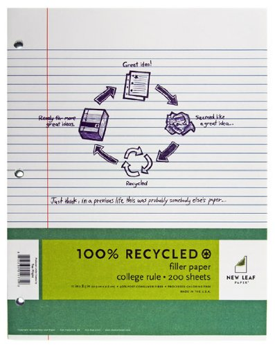 : New Leaf Basic 100% Recycled Filler Paper, 200 Sheets, 8.5 x 11 Inches, College Ruled, White (4512307)