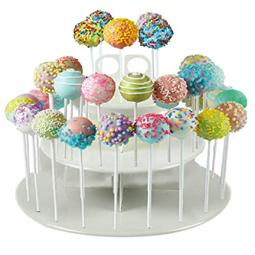 BROSCO 42 Holes Lollipop Holder Cake Pop Display Stand Plastic White