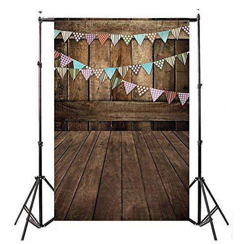 (Vinyl Wood Wall Floor Photography Studio Prop Backdrop Background 3x5FT C)