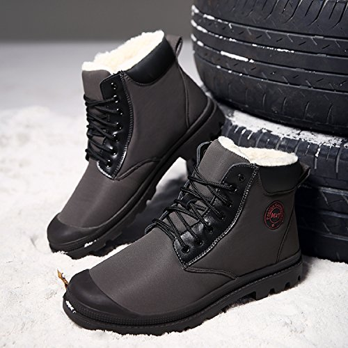 Impermeable Oscuro Nieve Otoño Botas Calentitas para Gris Botas de invierno Hombre TQGOLD 7TqS1