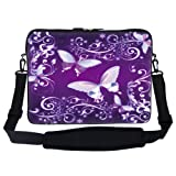 15 15.6 inch Purple Butterfly Design Laptop Sleeve Bag Carrying Case with Hidden Handle and Adjustable Shoulder Strap for 14″ 15″ 15.6″ Apple Macbook, Acer, Asus, Dell, Hp, Sony, Toshiba, and More, Bags Central