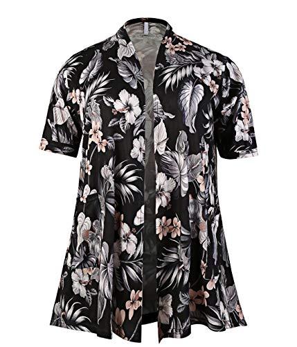 (ZERDOCEAN Women's Plus Size Short Sleeve Lightweight Soft Printed Drape Cardigan with Pockets 808 1X)