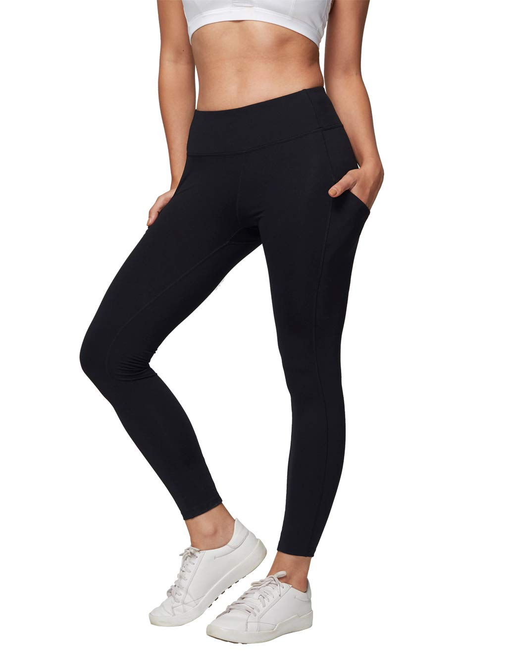 AJISAI Women High Waist Leggings with Pockets,Tummy Control Workout Running Stretch Yoga Pants Color Black Size S