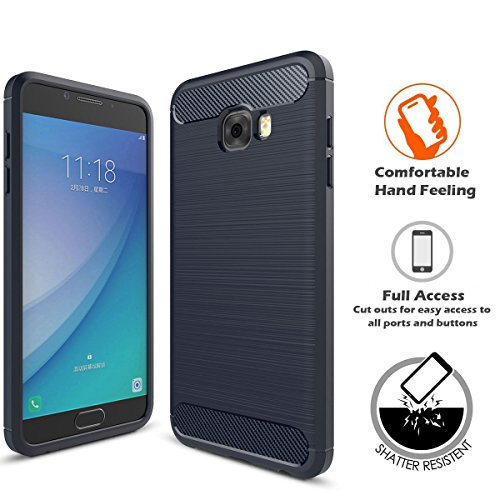 Button Style Adult Full Pro (LIKESEA Carbon Fibre Style Case for Samsung Galaxy C5 Pro, Premium Soft TPU Gel Protective Cover with Shock-Absorption and Anti-Scratch, Navy)