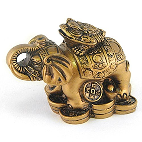 Feng Shui an Elephant with Money Toad / Frog with Coin Brown Resin Figurine 27700 B00TURYKOQ