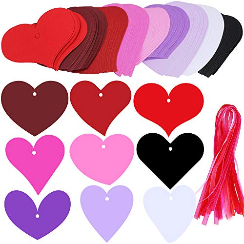 (Supla 90 Pcs 9 Colors 9 Heart Cut Outs Valentine's Day Gift Tag with Holes Favor Tags Blank Paper Tags Treats Tags Hang Label Tags Place Cards with 100 Pcs Decorative Organza Ribbon for Gift Wrapping)