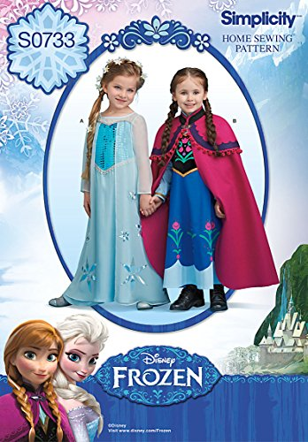Simplicity Creative Patterns S0733 Disney's Frozen Pattern Costume for Children, A(3-4-5-6-7-8) -