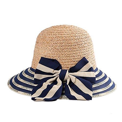 Down Home Fun Raffia Hat - Xiejuanjuan Women's Wide Brim Braided Sun Hat Sun Hat for Women Foldable Comfortable Large Brim Summer Beach Outdoor Hat Bowknot (Color : Navy Blue)