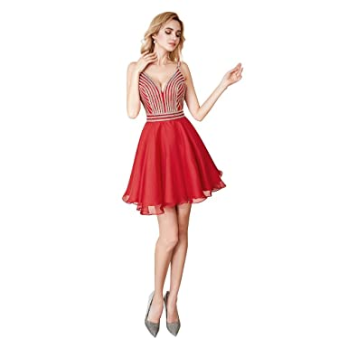 5bca8cb33d6 Leyidress 2018 New Sexy V Neck Homecoming Dresses Chain Bead Red Cocktail Dresses  Short Mini Party