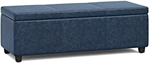SIMPLIHOME Avalon 48 inch Wide Rectangle Lift Top Storage Ottoman Bench in Upholstered Denim Blue Faux Leather with Large Storage Space for the Living Room, Entryway, Bedroom, Contemporary