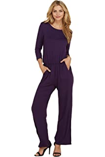 b8b4d290cee1 Annabelle Women s Solid Knit 3 4 Sleeve Back Keyhole Full Length Pocket  Jumpsuits S-