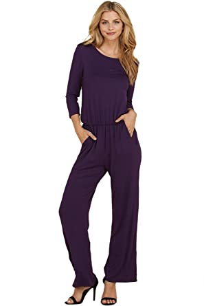16f8d5610de0 Annabelle Women s Knit Jumpsuit Featuring Solid Elastic Waist Full Length  Anthra Small J8057