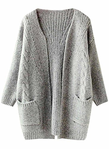 Futurino Women's Cable Twist School Wear Boyfriend Pocket Open Front Cardigan (One Size, (Knitted Cardigan)