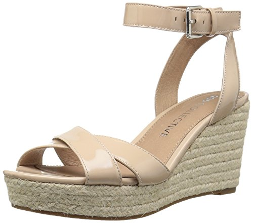 Amazon Brand - 206 Collective Women's Campbell Espadrille Dress Wedge-High Sandal, nude patent leather, 7 B US