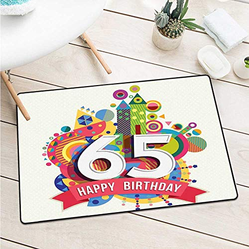 (Wang Hai Chuan 65th Birthday Inlet Outdoor Door mat Festive Composition with Colorful Figures and Celebratory Label Image Print for entrances garages patios W31.5 x L47.2 Inch Multicolor )