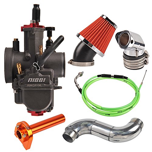 NIBBI RACING PARTS Replacement Orginal High Performance Speed Modified Carburetor Kit PWK26MM GY6 Curved Pipe Throttle Line Handlebar 48MM Air Filter Fit GY6 Engine Scooter 125CC-180CC
