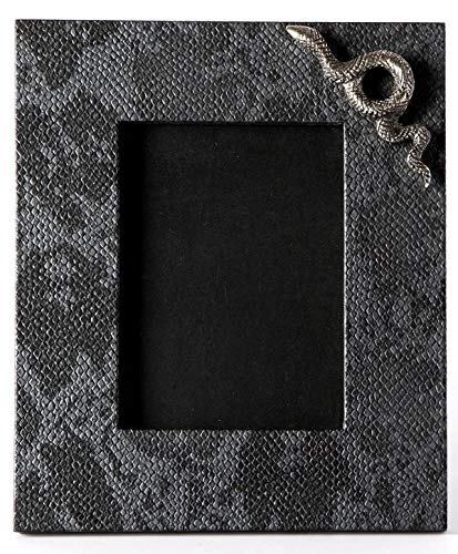 Carla Carstens Charcoal Grey Python Faux Exotics Large Leather Frame | 5 x 7 Suede Glass | Tabletop Desktop Photo | Wedding Personal Personalized ()