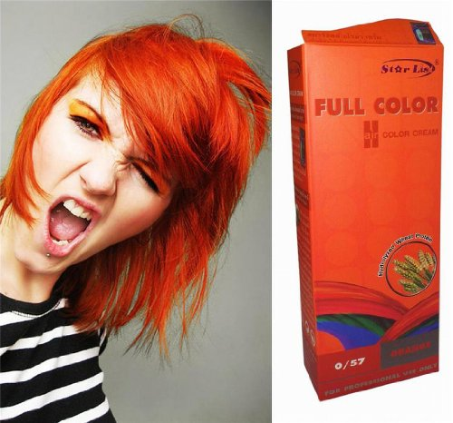 Premium Permanent Hair Color Cream Dye Goth Cosplay Emo Punk 0/57 BRIGHT ORANGE by Starlist Emo Hair