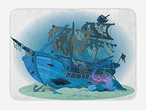 WCMBY Pirate Ship Bath Mat, Sunken Old Wrecked Buccaneer Vessel Antique Aquatic Underwater View, Plush Bathroom Decor Mat with Non Slip Backing, 23.6W X 15.7 W Inches, Blue Almond Green Pink