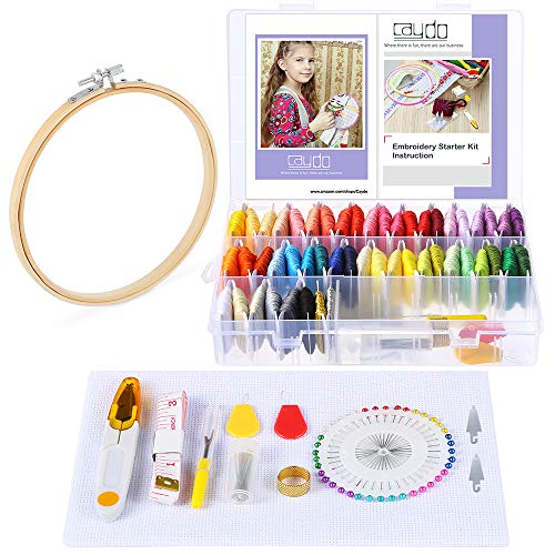 Caydo 131 Pieces Embroidery Kit with Instructions, 50 Color Threads with Organizer Box, 1 Pieces Aida Cloth, Embroidery Hoops and Cross Stitch Tools for Adults and Kids Beginners