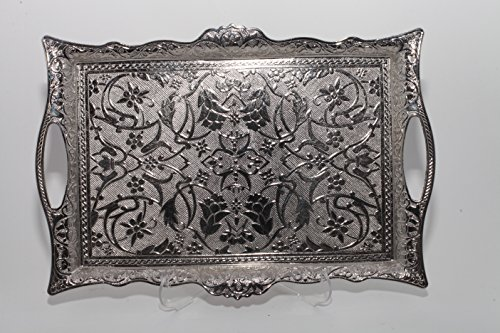 Turkish Ottoman Coffee Tea Serving Tray 10 in x 16 in ( Silver ) (Silver Tea Tray)