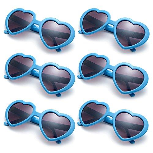 OAONNEA 6 Pack Neon Colors Party Favor Supplies Heart Shape Sunglasses for Christmas (Blue) ()