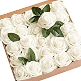 Ling's moment Artificial Flowers 50pcs Real Looking Ivory Fake Roses...