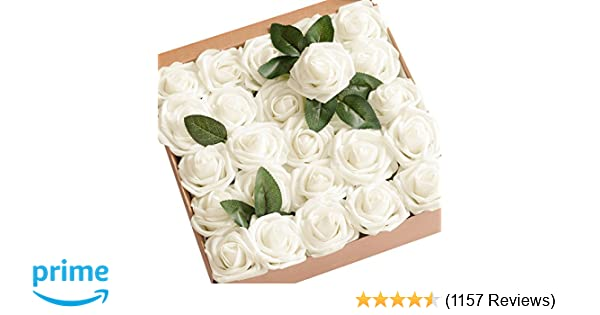 Amazon lings moment artificial flowers ivory roses 50pcs real amazon lings moment artificial flowers ivory roses 50pcs real looking fake roses wstem for diy wedding bouquets centerpieces arrangements party baby mightylinksfo