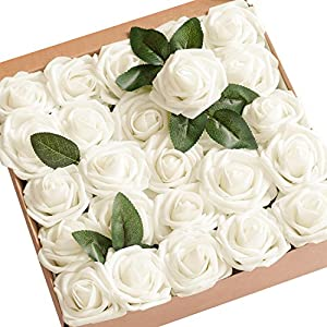Ling's moment Artificial Flowers 25pcs Real Looking Ivory Fake Roses w/Stem for DIY Wedding Bouquets Centerpieces Bridal Shower Party Home Decorations 7