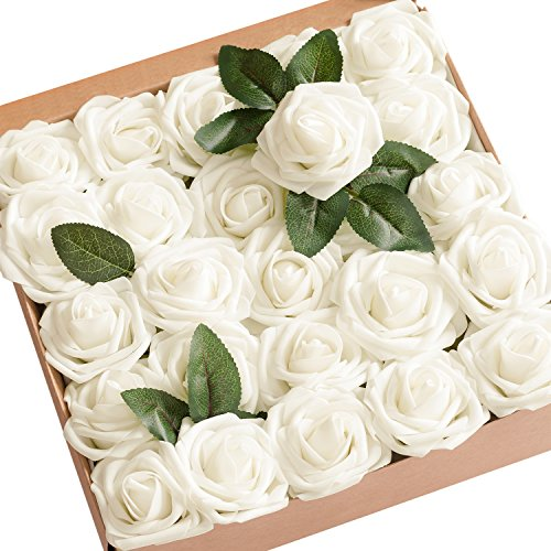 (Ling's moment Artificial Flowers Ivory Roses 50pcs Real Looking Fake Roses w/Stem for DIY Wedding Bouquets Centerpieces Arrangements Party Baby Shower Party Home Decorations)