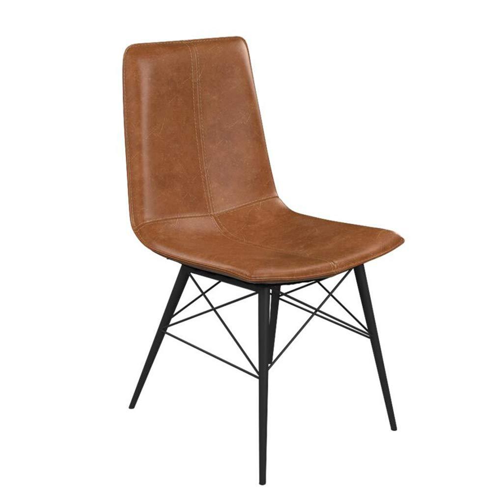 チェア/スモールシート/シンプルなパーソナリティ鍛造アイアンチェアクリエイティブカフェバーチェアホームリビングルームラウンジチェアダイニングチェア (色 : Brown)  Brown B07KQ7868G