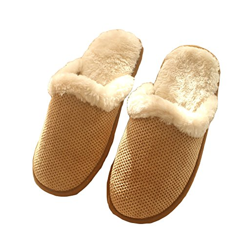 Song Autumn and Winter Home Cotton Slippers Warm Non-Slip Mens Rubber-Soled Cotton Slippers Brown 44 vyQGyWcqp