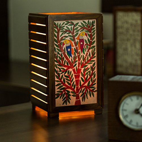 ExclusiveLane 'The Tree of Light' Mithila Hand-Painted Table Lamp in Teak Wood - Table Lamps for Living Room Bedroom Entryway Study Desk Kids Bedroom Lamps and Lanterns
