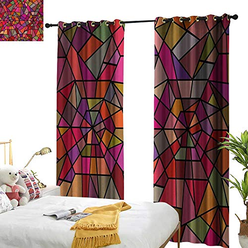 ,Blackout Draperies for Bedroom,Mosaic Style Stained Glass Fractal Colorful Geometric Triangle Forms Artful Image,W96 xL84,Suitable for Bedroom Living Room Study, etc. ()