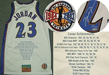 wholesale dealer 4186e 20313 Michael Jordan Signed Wizards STAT Jersey LE123 UDA: Amazon ...