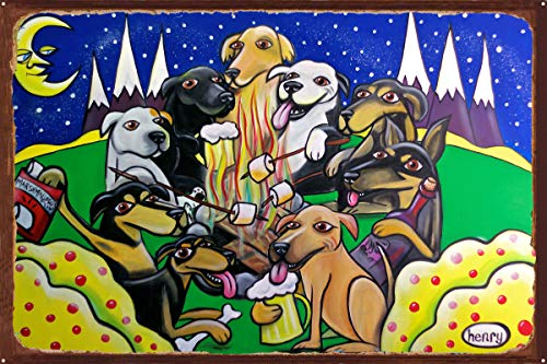 Dog Campfire Rustic Metal Art Print by Seattle Mural Artist Henry (24