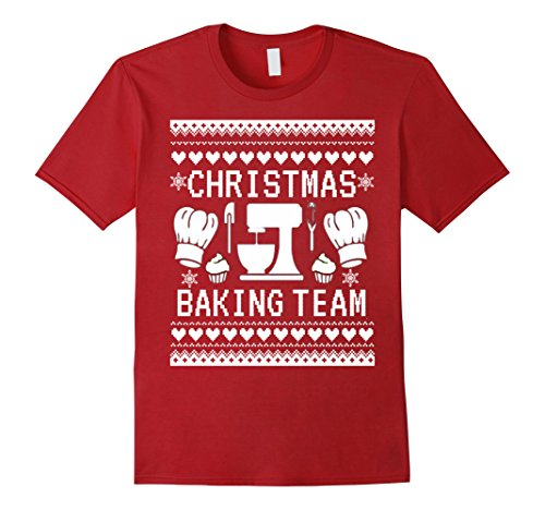 Womens Christmas Baking Team T-Shirt Funny Ugly Sweater Tees XL Cranberry