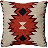 Rizzy Home T05821 Woven Southwestern Patten Decorative Pillow, 18 by 18-Inch, Orange