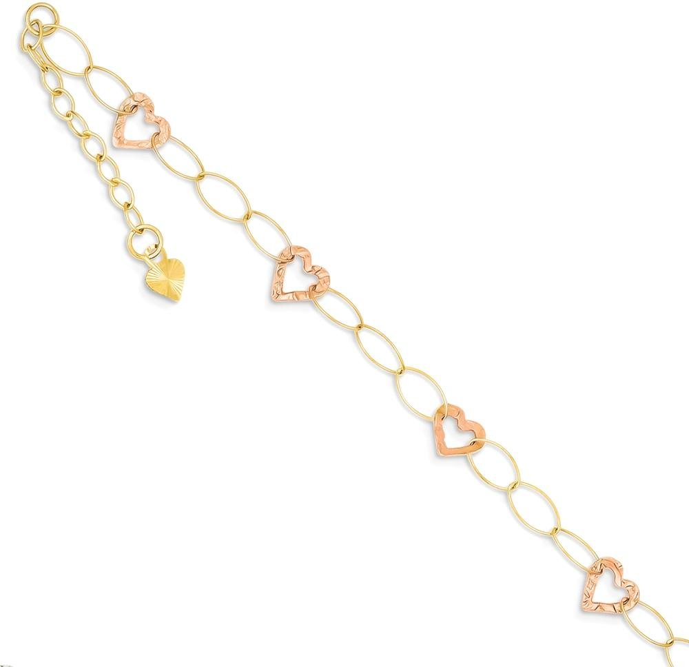 ICE CARATS 14k Two Tone Yellow Gold Adjustable Chain Plus Size Extender Heart 1 Extension Anklet Ankle Beach Bracelet Fine Jewelry Gift Set For Women Heart