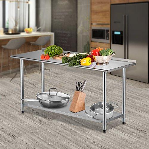 SUNCOO Commercial Stainless Steel Work Food Prep Table with Undershelf (72 in Long x 30 in Deep W/Backsplash)