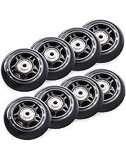 TOBWOLF 70mm/ 76mm 82A/84A inline skaatwielen, 8 Pack vervanging rolschaatsen wielen voor meisjes en jongens wielen met lagers ABEC 7 - zwart