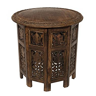 Cotton Craft Jaipur Solid Wood Hand Carved Accent Coffee Table - 18 Inch Round Top x 18 Inch High - Antique Brown