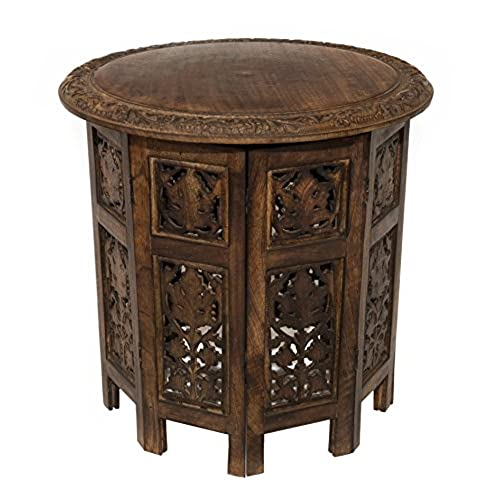 Cotton Craft Jaipur Solid Wood Hand Carved Accent Coffee Table - 18 Inch  Round Top x 18 Inch High - Antique Brown - Hand Carved Furniture: Amazon.com