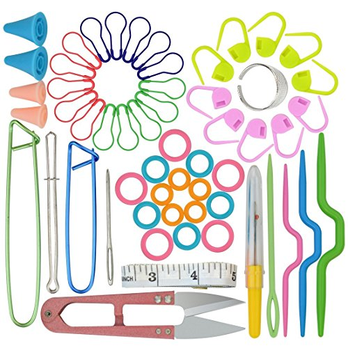 56 in One Basic Sewing Knitting & Crochet Tools Accessories, Marrywindix Sewing Kit Supplies with Measuring Tape, Snipper, Stitch Holders, Saftey Pin. ()