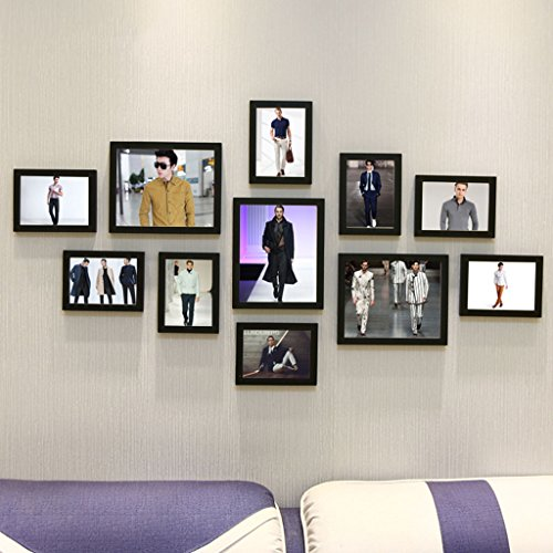 Home@Wall photo frame Living Room Photo Frame Wall ,Creative Wall Photo Frame Combination 11 Pcs/sets Collage,Family Picture Frame Wall DIY Photo Frame Sets ( Color : F , Size : 11frames/13570CM ) by ZGP