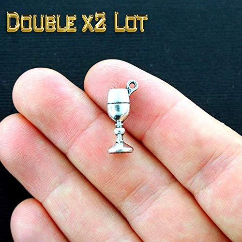 Double x2 LOT of 50 Wine Glass Charms 3D Chalice or Goblet Vintage Crafting Pendant Jewelry Making Supplies - DIY for Necklace Bracelet Accessories by ()