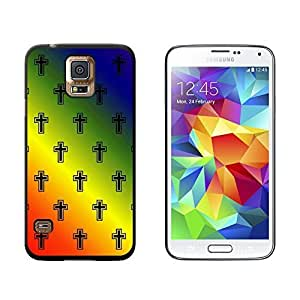 New Style Crosses on Parade Christian Rainbow - Snap On Hard Protective Case for Samsung Galaxy S5 - Black