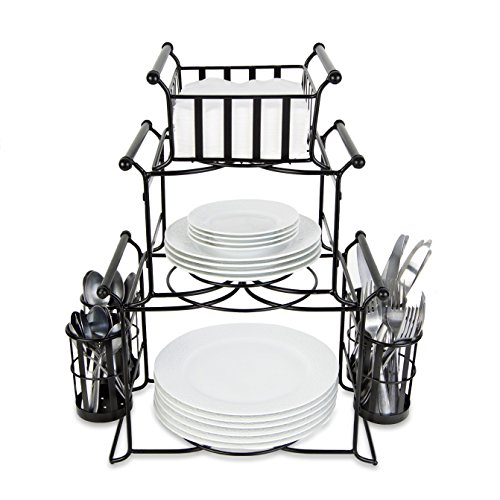 Buffet Server Set (Bison Home Goods Stackable Buffet Caddy Organizer (7-Piece Set) Modern Server for Hosting Parties, Serving Dinner, Carrying Utensils | Metal, Modular Design | Compact, Portable (New Improved)